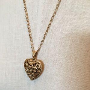 1928 Locket Heart Pendant Necklace/Floral Engraved